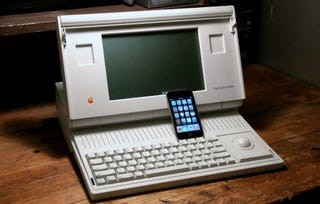 Illustration for article titled Macintosh Portable Turns 20, Gets Undressed In Front of Sexier iPod touch