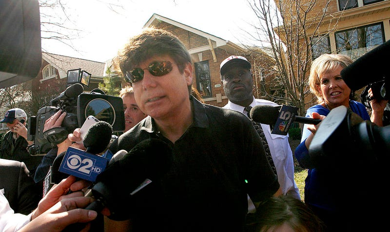 Convicted former Illinois Gov. Rod Blagojevich holds a news conference outside his home March 14, 2012 in Chicago.