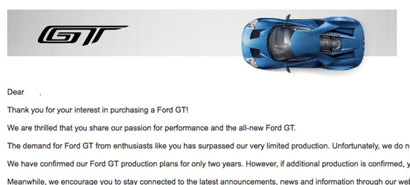 The  Ford Gt Rejection Letters Are Rolling In