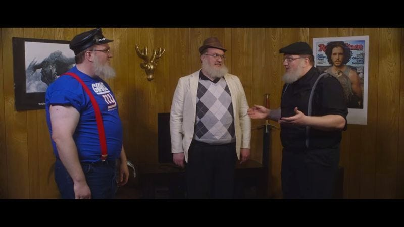 Illustration for article titled George R.R. Martin gets cloned in the trailer for Multiplicity 2: Game Of Clones