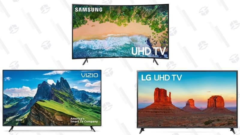LG 65-Inch 4K (2160) HDR Smart LED UHD TV | $698 | WalmartVIZIO 65-Inch 4K Ultra HD (2160P) HDR Smart LED TV | $598 | WalmartSAMSUNG 65-Inch 4K (2160P) Ultra HD Smart LED TV | $847 | Walmart
