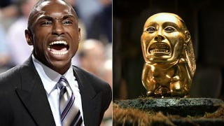 Illustration for article titled Separated at Birth: NBA Coach Avery Johnson, and the Hovitos Fertility Idol from Raiders of the Lost Ark?