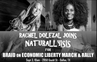 Promotion for natural-hair rally featuring Rachel DolezalFacebook