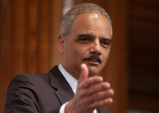 Attorney General Eric Holder delivers remarks during the NAACP Legal Defense and Educational Fund's luncheon to commemorate the Supreme Court's 1954 Brown v. Board of Education decision at the National Press Club May 16, 2014, in Washington, D.C.Chip Somodevilla/Getty Images