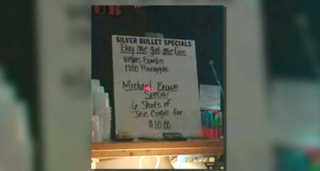 Mug Shots bar in St. Joseph, Mo., apologized after offering a Michael Brown six-shot special. Brown, who was 18 and unarmed, was struck at least six times when he was fatally shot in Ferguson, Mo., by Officer Darren Wilson on Aug. 9.Fox 4 News Screenshot