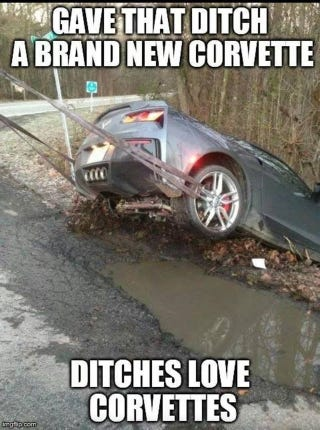 Illustration for article titled 'Ditches Love Corvettes' Is The Best New 2014 Corvette Meme