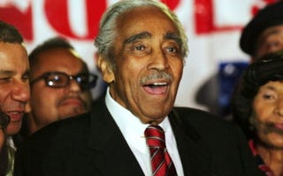 Rep. Charles Rangel declares victory. (Spencer Platt/Getty Images)