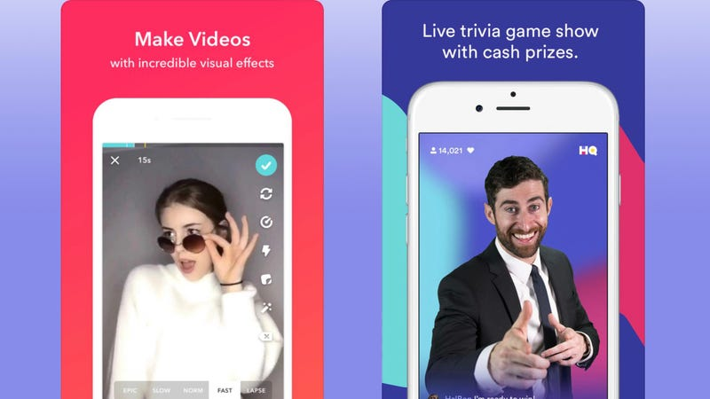 Left: Musical.ly, Right: HQ Trivia (Credit: Musical.ly and HQ Trivia)