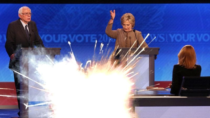 Illustration for article titled Clinton Throws Flash Grenade To Divert Attention From Question About Senate Voting Record