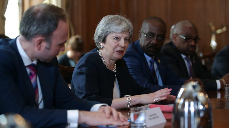 Britain's Prime Minister Theresa May hosts a meeting with leaders and representatives of Caribbean countries at 10 Downing Street on April 17, 2017 in London, England. Theresa May is meeting Caribbean leaders as the Government faces severe criticism over the treatment of the 'Windrush' generation of British residents.