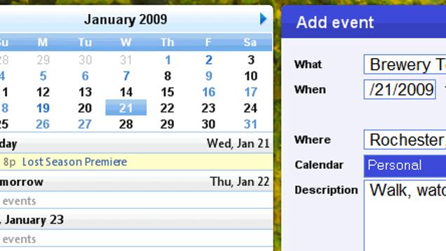 Monthly Calendar Gadget For Windows : Google calendar desktop gadget released