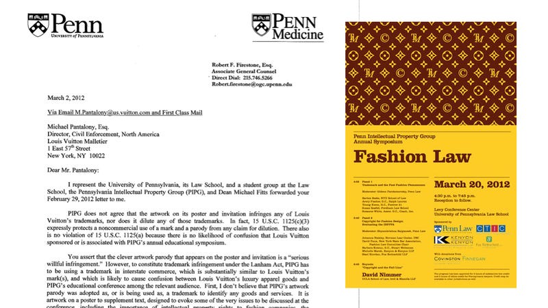 Illustration for article titled Louis Vuitton Threatens To Sue Penn Law School Over Logo Parody