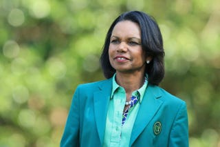 Former Secretary of State Condoleezza Rice, a member of Augusta National, prior to the start of the Masters Tournament at Augusta National Golf Club April 9, 2014, in Augusta, Ga.David Cannon/Getty Images
