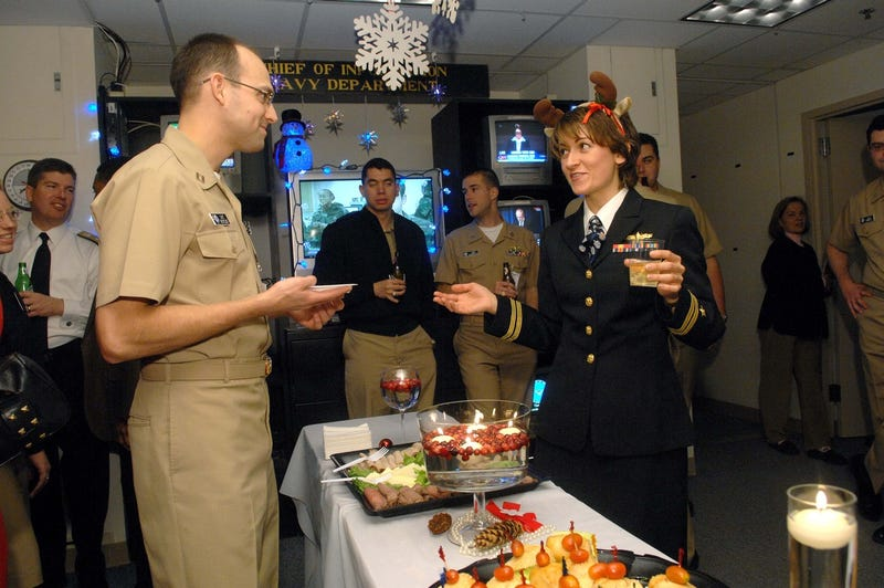 Navy Department of Information's office Christmas party on December 13, 2007 in Washington (AP Photo/Kevin Wolf)