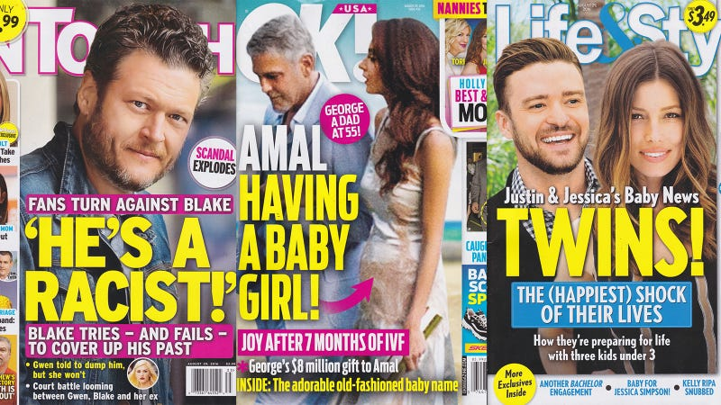 Illustration for article titled This Week In Tabloids: Blake Shelton Gave Birth...to Racist and Homophobic Tweets!
