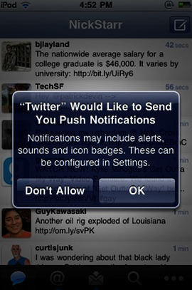 Illustration for article titled Twitter Adding Push Notifications to its iPhone App
