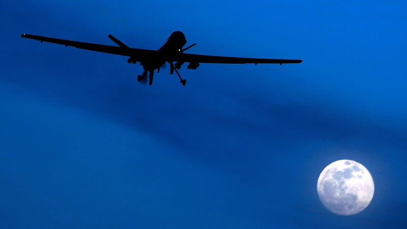 An unmanned US Predator drone flies over Kandahar Air Field, southern Afghanistan, on a moon-lit night. (Image: AP)