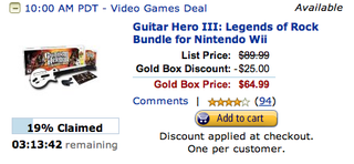Illustration for article titled Rush Dealzmodo: Guitar Hero 3 For Wii $25 Off