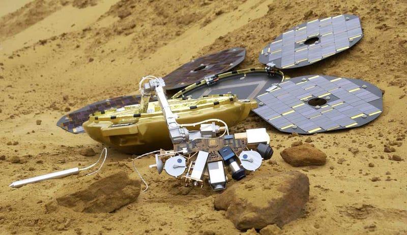 Illustration for article titled La NASA podría haber hallado la sonda Beagle 2 perdida en Marte en 2003