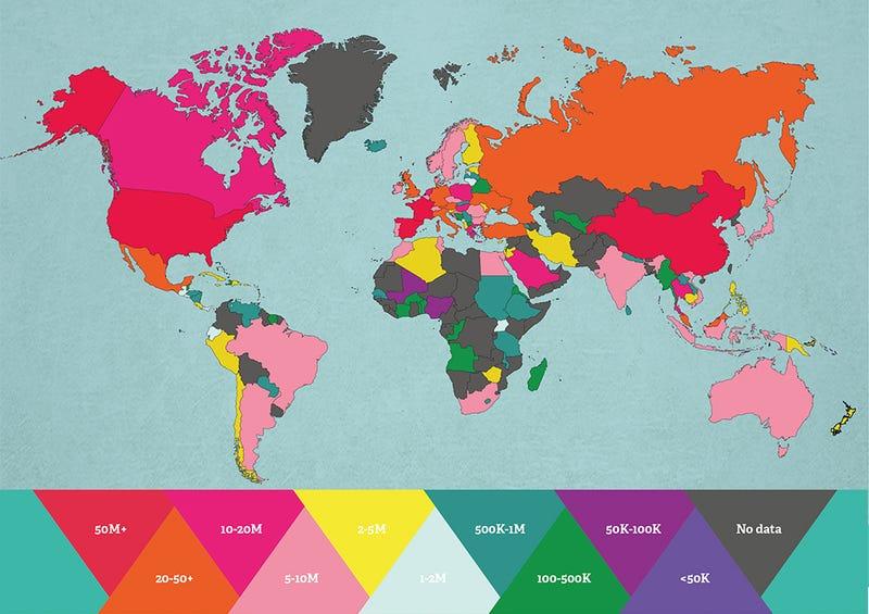 El mapa de los países más visitados del mundo