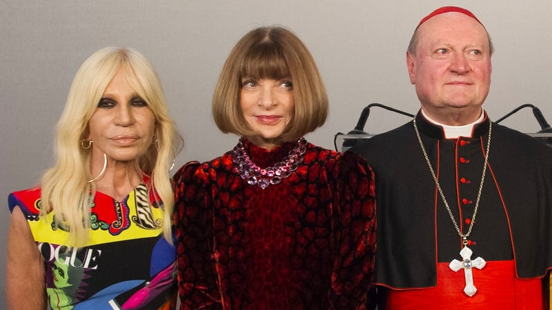 Right to left: Donatella Versace, Anna Wintour, and Cardinal Gianfranco Ravasi.