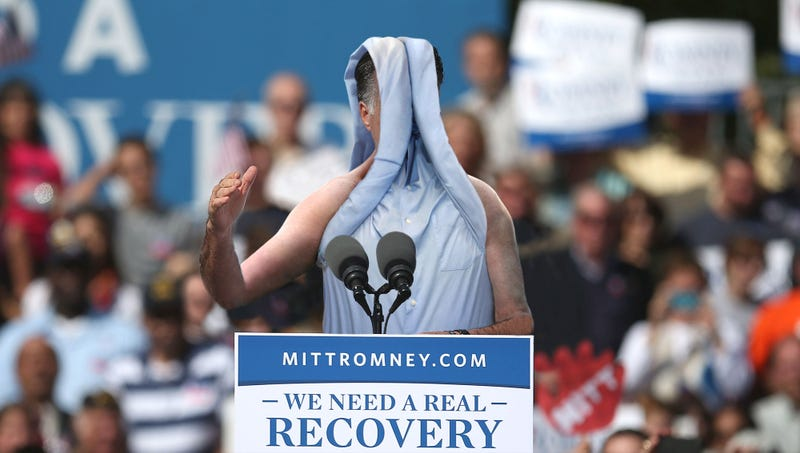 Illustration for article titled Romney Rolls Sleeves All The Way Up Over His Head