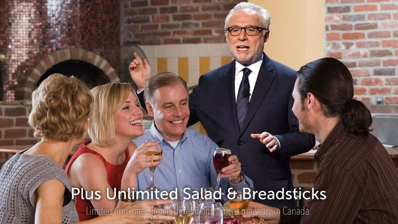 Illustration for article titled Wolf Blitzer Walks Into Middle Of Olive Garden Commercial To Announce Breaking Election Results