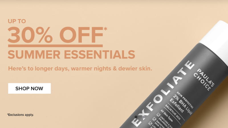 Up to 30% Off Summer Skincare Essentials, Plus Free Full-Size Product With $75 Purchase | Paula's Choice | Promo code SUMMER