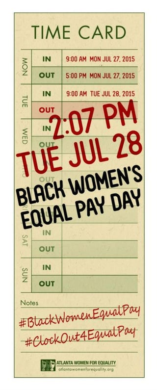 Printable time card by Atlanta Women for Equality to raise awareness about the wage gap between black women and white menAtlanta Women for Equality