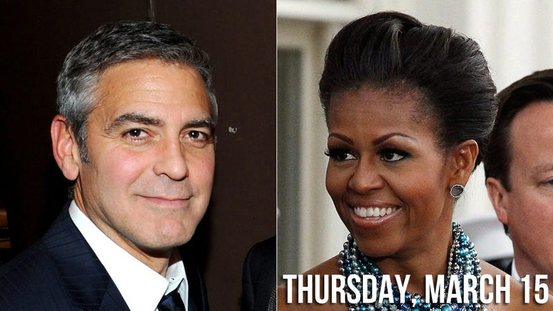 Illustration for article titled Sexual Black Widow Michelle Obama Catches George Clooney in her Presidential Web