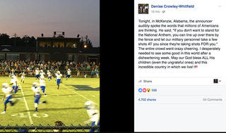 Facebook post regarding comments made by an Alabama high school football announcer about those who choose to sit out the national anthem in protestFacebook