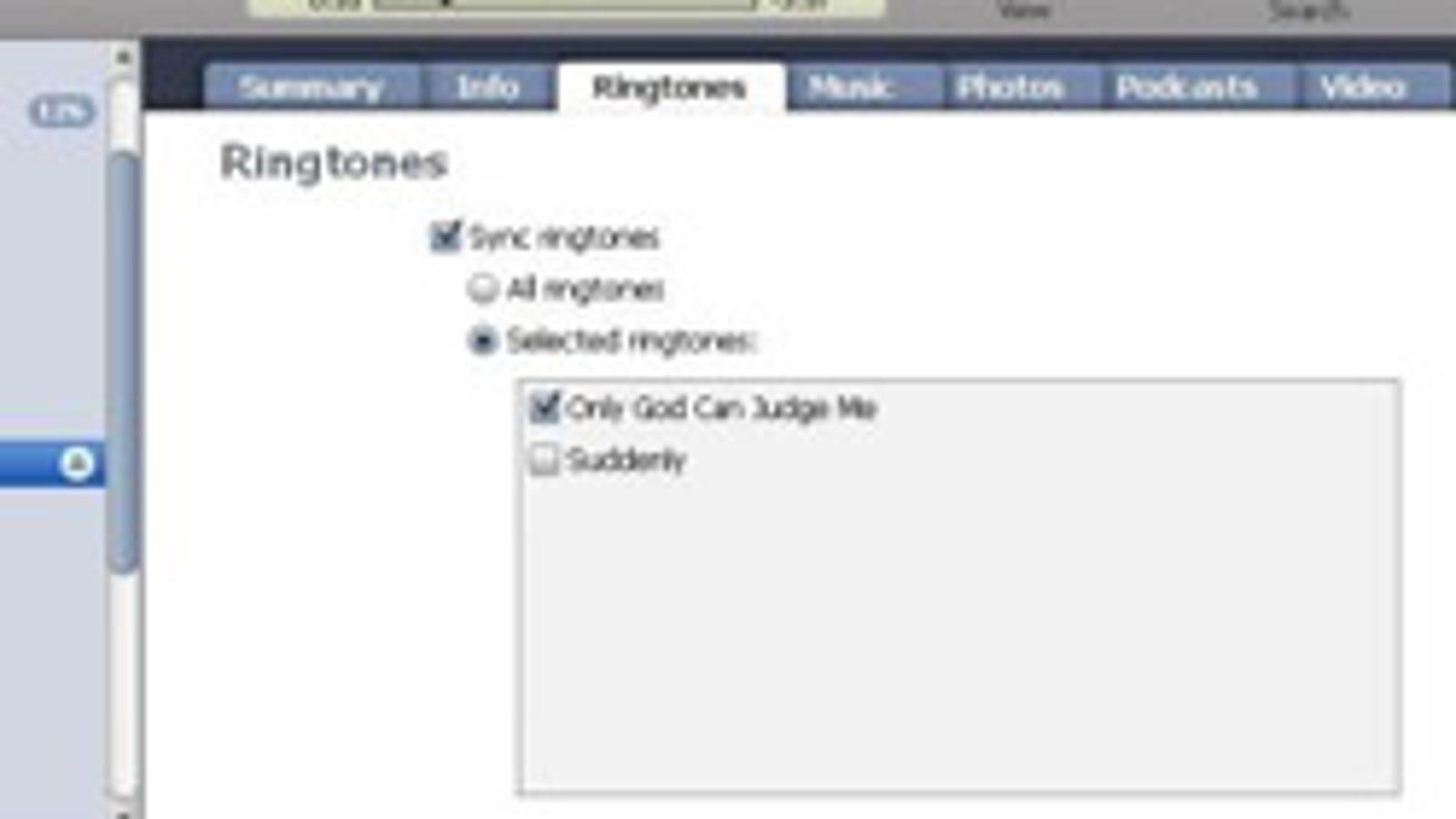 itunes ringtone sync missing