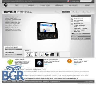 Illustration for article titled Motorola Droid Unexpectedly Appears on Motorola's Site Ahead of Schedule