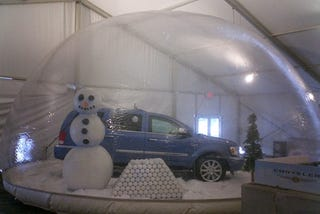 Illustration for article titled Giant Snowmen Hold Chrysler Products Hostage, Use Force Field