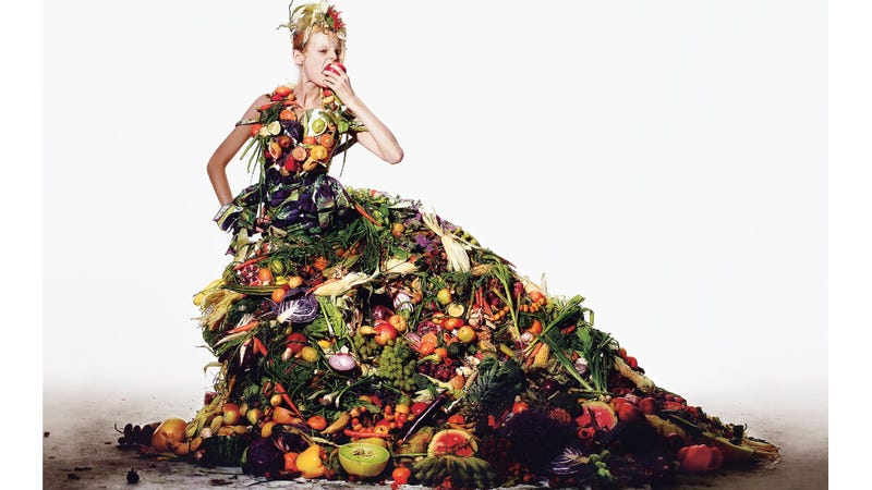 Illustration for article titled Here is a Gorgeous Fashion Spread Where the Clothing is Made of Food