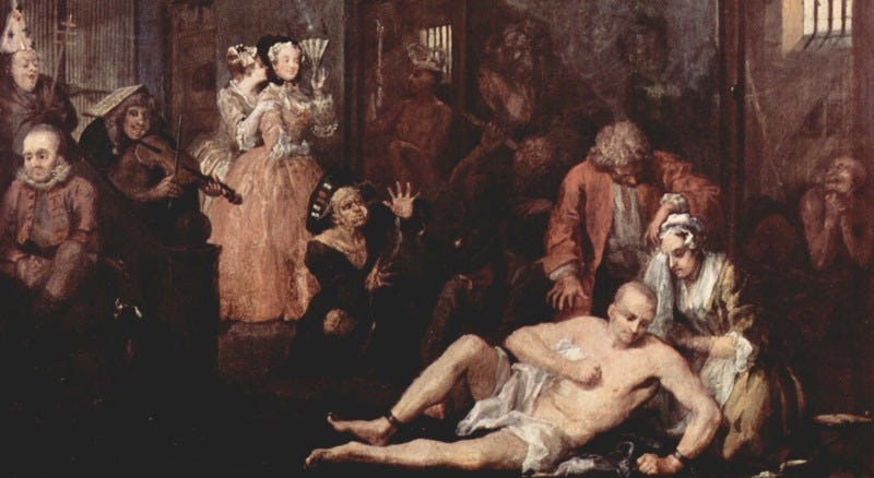 """Bethlem Royal Hospital (""""Bedlam"""") as depicted in a scene from William Hogarth's series, """"The Rake's Progress"""" (1735). Public domain."""