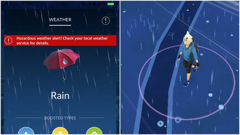 Illustration for article titled Pokémon Go Doesn't Want You Playing Outside During Typhoons