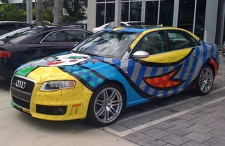Illustration for article titled Audi RS4 Decorated By Artist Romero Britto; That's Some Fast Art