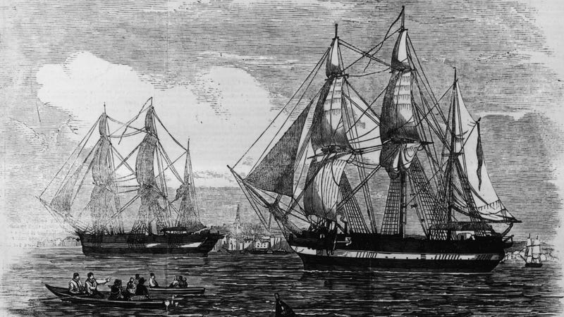 The doomed HMS Terror and HMS Erebus of the Franklin expedition. 1845 Illustrated London News image via Getty.