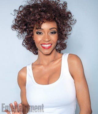 Yaya DaCosta re-creating Whitney Houston's look from her 1987 album coverJack Zeman/Lifetime Television