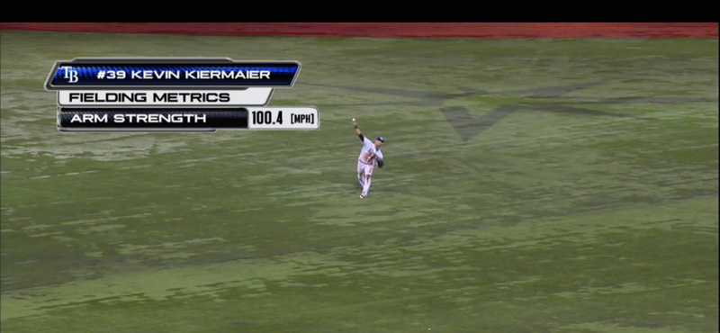 Illustration for article titled KevinKiermaier Delivers 100 MPH Fastball From Center Field To Nail Runner
