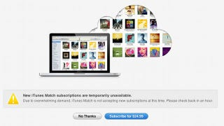 Illustration for article titled iTunes Match Temporarily Overwhelmed by Huge Demand
