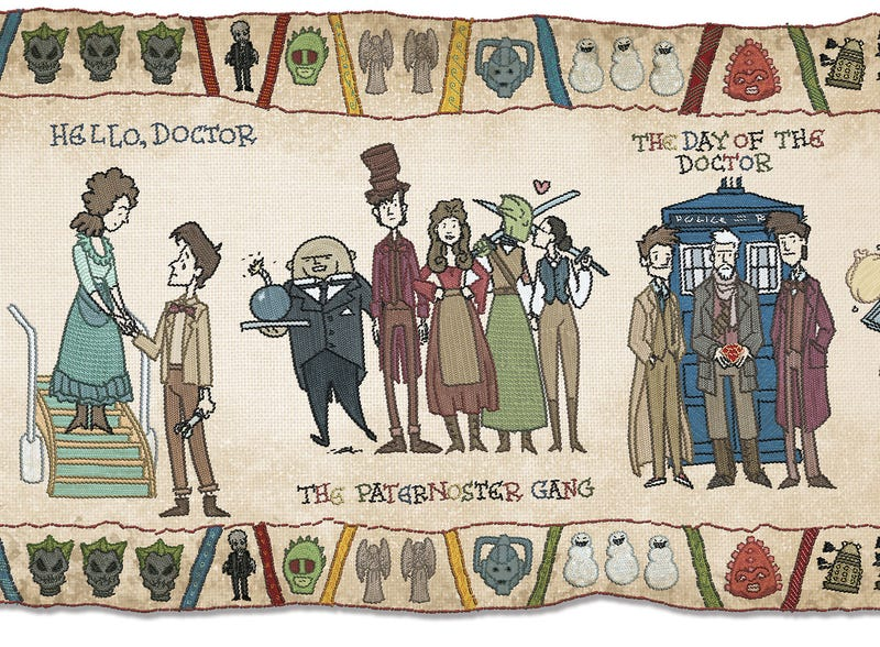 Illustration for article titled What if the Bayeux Tapestry told the history of Doctor Who?
