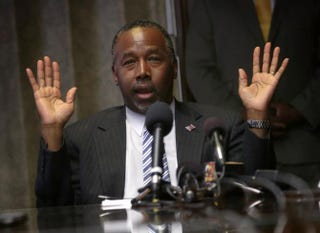 Republican presidential hopeful Ben Carson speaks during a meeting with pastors and community leaders May 7, 2015, in Baltimore.Alex Wong/Getty Images