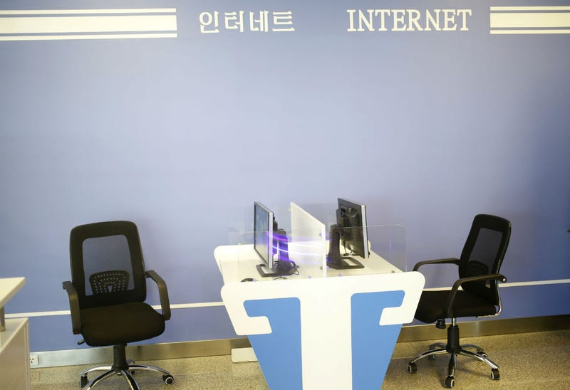 "The ""internet room"" at Pyongyang's international airport in 2015, which at the time reportedly didn't have access to the internet (AP Photo/Dita Alangkara)"