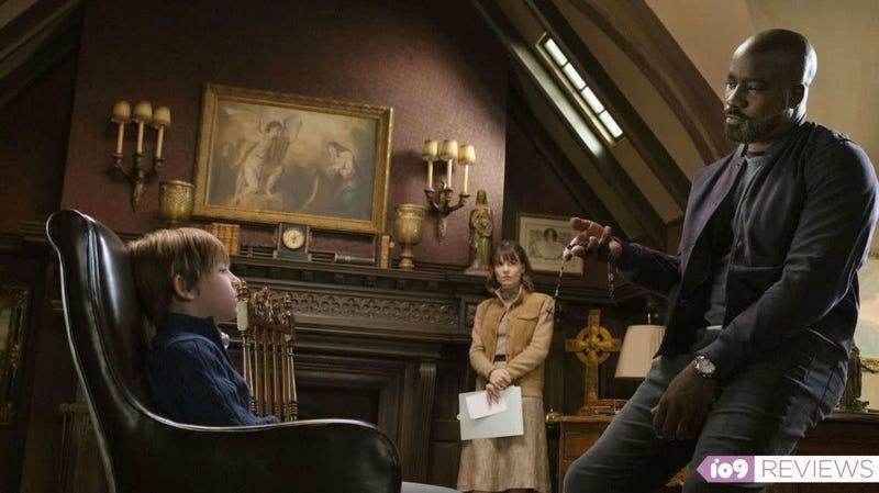 Tween terror Eric (Luke Judy) chats with Evil investigators Kristen (Katja Herbers) and David (Mike Colter).