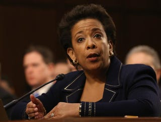U.S. Attorney for the Eastern District of New York Loretta Lynch testifies during her confirmation hearing before the Senate Judiciary Committee Jan. 28, 2015, on Capitol Hill in Washington, D.C.Mark Wilson/Getty Images