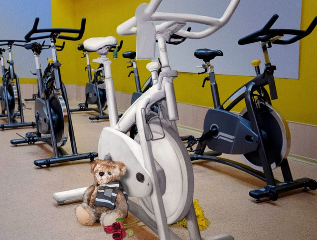 Gym Places Flowers, White Spin Bike In Spot Where Soul Cyclist Killed
