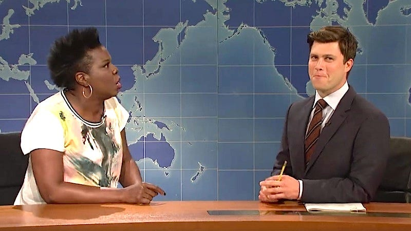 Illustration for article titled Here's an Adorable Compilation of All the Times Leslie Jones Has Made Colin Jost Blush on Live TV