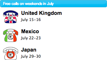 Illustration for article titled Free Skype Calls To the UK, Mexico and Japan Weekends